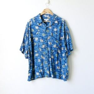Vintage 90s Scallops & Seashells Hawaiian Shirt